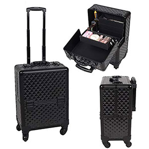 6. OGIMA Professional Black Plaid Rolling Makeup Train Case