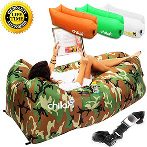 9. Chillax Inflatable Lounger for Travelling, Camping, Hiking – Camouflage