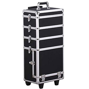 7. Yaheetech 4-in-1 Trolley Rolling Makeup Train Case