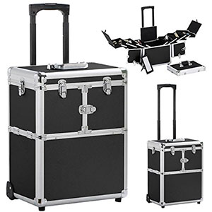 4. Yaheetech Pro Salon Rolling Makeup Train Case