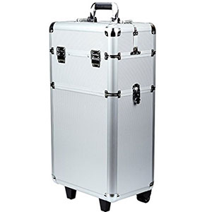 8. Shayin 3-in-1 Aluminum Rolling Makeup Train Case