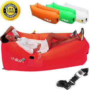6. Chillax Inflatable Lounger for Travelling, Camping, Hiking - Red