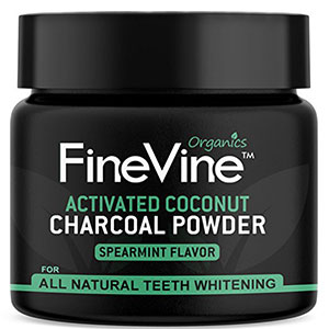 4. FineVine Charcoal Teeth Whitening Powder (Spearmint)