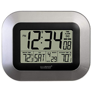 10. La Crosse Technology WS-8115U-S-INT Digital Wall Clock