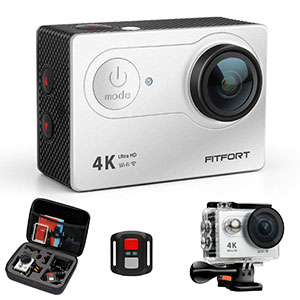 6. Fitfort 4K Waterproof Sports Camera