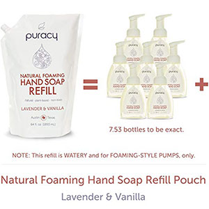 9. Puracy Natural Foaming Hand Soap Refill (64 Fluid Ounce)