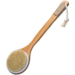 8. VAMIX Bath Back Scrubber With Long Wooden Handle