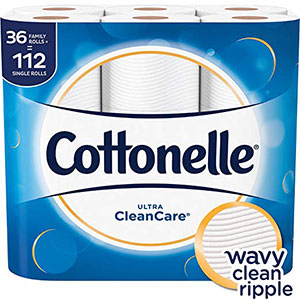 4. Cottonelle 36 Family Rolls+ Toilet Paper (Ultra CleanCare)