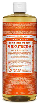 2. Dr. Bronner's Pure-Castile Liquid Soap – 32oz (Tea Tree)