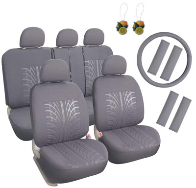 3. Leader Accessories Embossed 17pcs Car Seat Covers