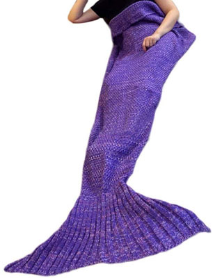 2. Kpblis Adult and Kids Soft Mermaid Tail Blanket