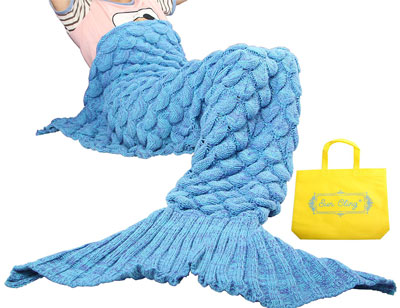 5. Sun Cling Soft Crochet Handmade Mermaid Blanket