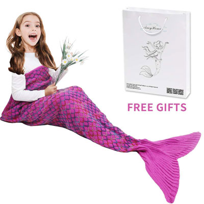 3. AmyHomie Pink Crotchet Mermaid Tail Blanket for Girls