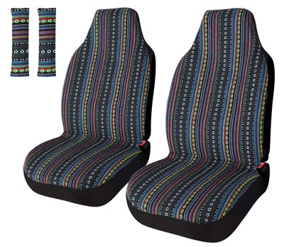 5. Copap Universal Stripe Colorful 4pc Front Seat Covers