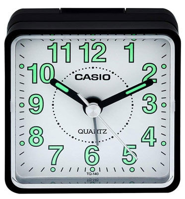10. Casio TQ140 Black Travel Alarm Clock