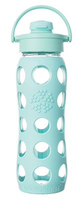 6. Lifefactory 22-Ounce Turquoise Glass Silicone Water Bottle