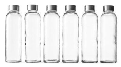 2. Epica 18 Oz Set of 6 Glass Water Bottles