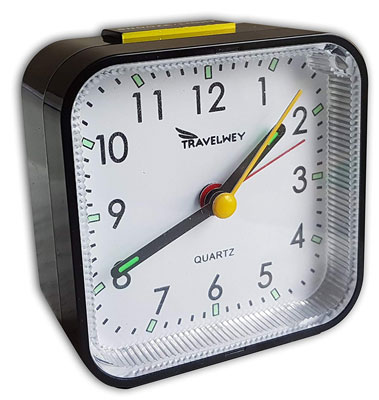 6. Travelwey Black Travel Alarm Clock