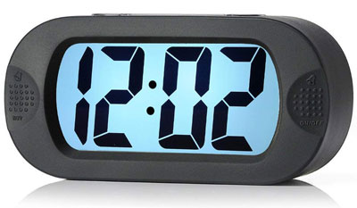 7. Plumeet LCD Digital Large Travel Alarm Clock