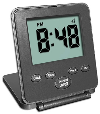 3. Travelwey Simple Digital Travel Black Alarm Clock