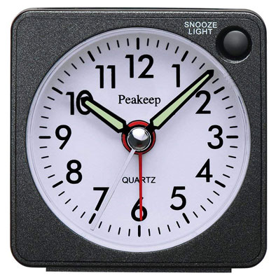 4. Peakeep Quartz Analog Small Alarm Clock