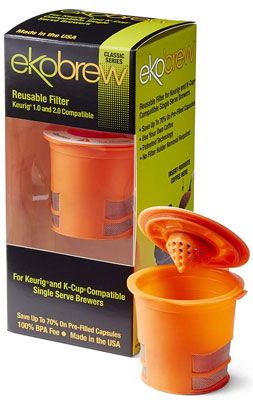 2. Ekobrew Orange Keurig Compatible Classic Reusable K Cup