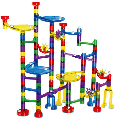 4. Meland 122-Piece Educational Building Block Marble Run