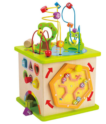 4. Hape Country Critters Wooden Activity Play Cube