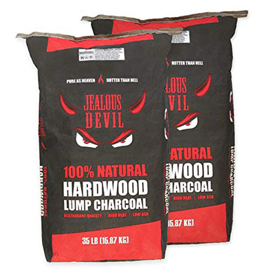 1. Jealous Devil Hardwood Lump Charcoal – 2 x 35LB
