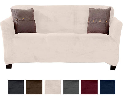 5. Great Bay Home Modern Velvet Strapless Slipcover (Sofa, Silver Cloud)