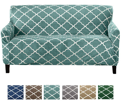 7. Great Bay Home Modern Velvet Strapless Slipcover (Sofa, Aqua)