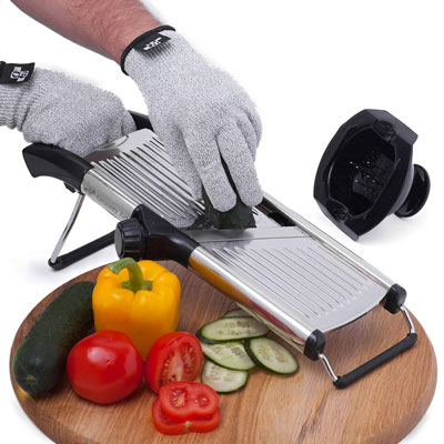 9. Grocery Art Mandoline Slicer with Cut-Resistant Gloves