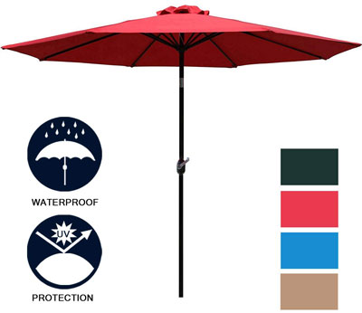 2. Sunnyglade 9' Patio Umbrella with 8 Sturdy Ribs
