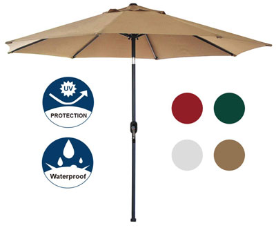 4. Blissun 9' Patio Umbrella (Tan) - Manual