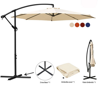 10. JEAREY 10 Ft Market Hanging Umbrella & Crank