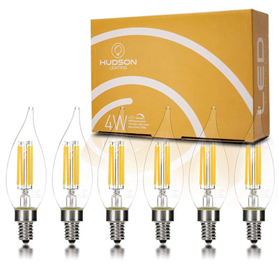 2. Hudson Lighting Flame Tip Candelabra LED Bulbs – 6 Packs