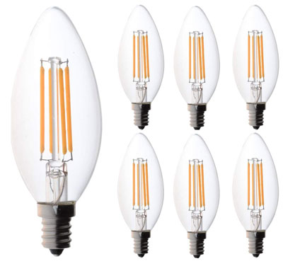 7. Bioluz LED 60 Watt Candelabra Bulbs (Uses only 4.5 watts), Pack of 6