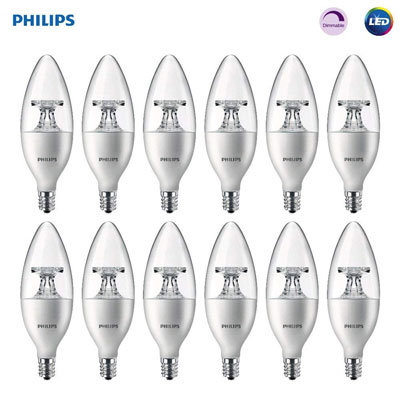 4. Philips LED Dimmable B11 Clear Candle Light Bulb (12 Pack)