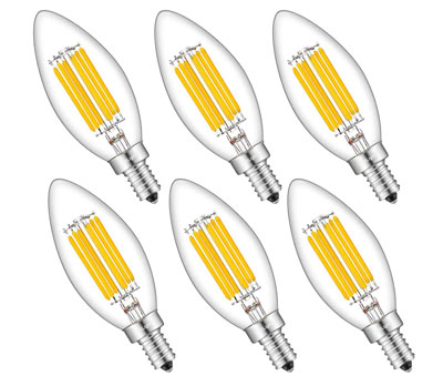 1. CRLight 6W 700LM LED Candelabra Bulb (6 Pack)