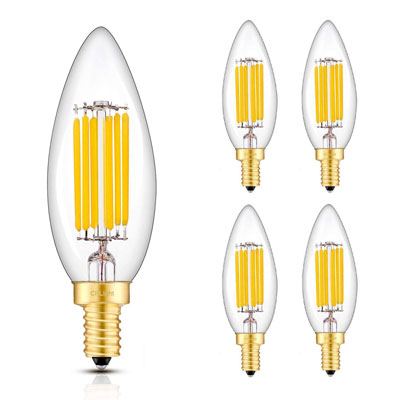 6. CRLight 6W 3000K 700LM LED Candelabra Bulb (4 Pack)