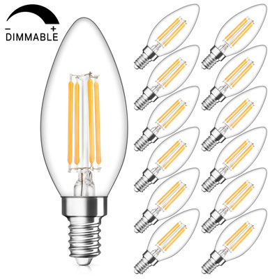 9. SHINE HAI Candelabra LED Filament Bulbs, Pack of 12