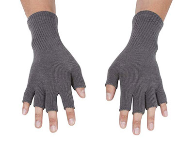 5. Gravity Threads Stretchy Knit Gloves - Unisex Half Finger