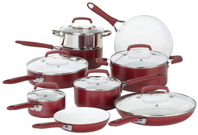 4. WearEver 2100087606 15 Piece Ceramic Nonstick Cookware