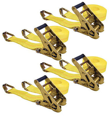 "7. Keeper 04629 25' x 2"" Ratchet Tie-Down with J-Hooks (4 Packs)"