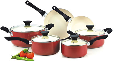 3. Cook N Home NC-00359 Ceramic 10-Piece Cookware Set