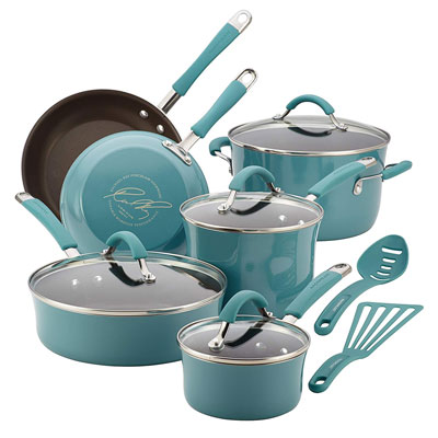 1. Rachael Ray Cucina Nonstick Cookware Set, 12-Piece