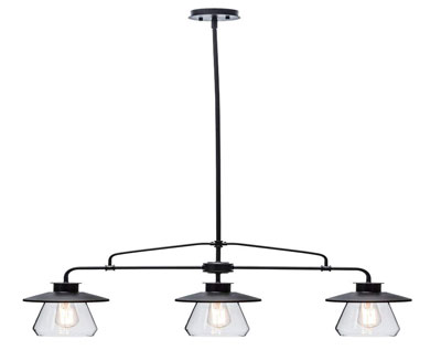 2. Globe Electric 64845 Nate 3-Light Pendant, Clear Glass Shade