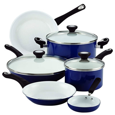 8. Farberware PURECOOK 12-Piece Ceramic Cookware Set