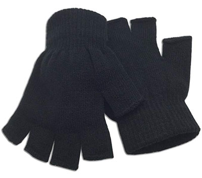 8. grinderPUNCH Winter Black Fingerless Gloves