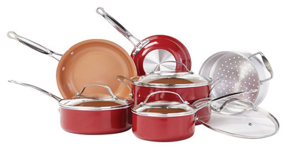 6. BulbHead 10 PC Ceramic Non-Stick Cookware Set